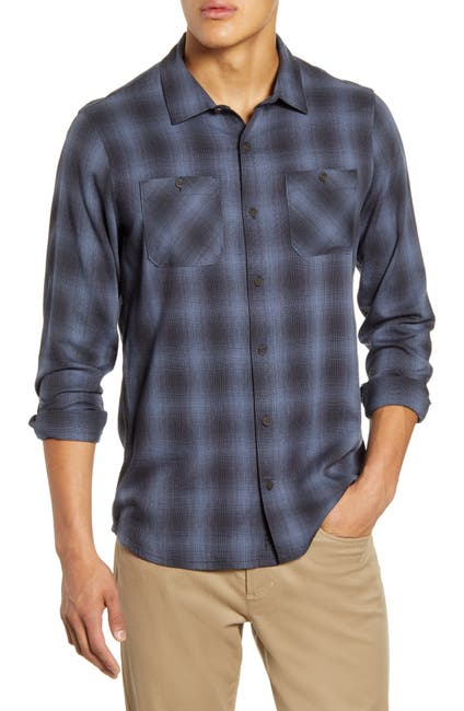 Image of TRAVIS MATHEW Brocation Regular Fit Ombré Plaid Button-Up Shirt