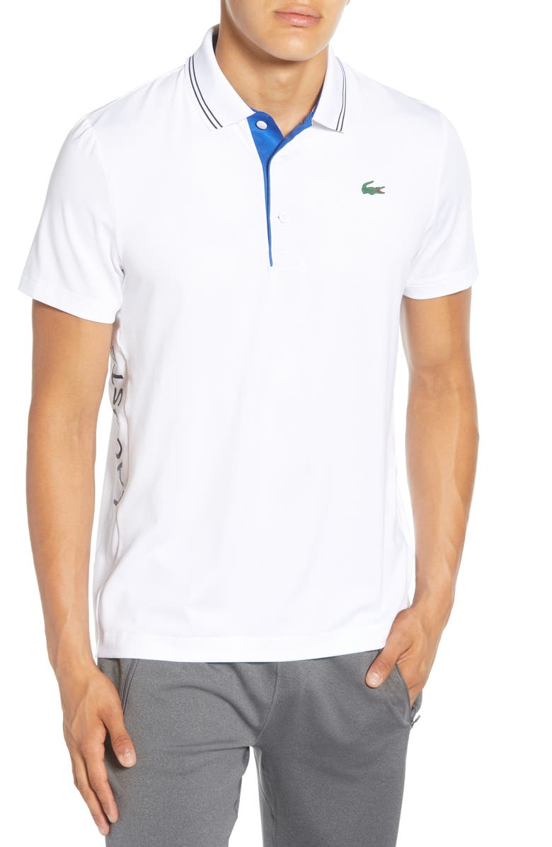 LACOSTE Regular Fit Tipped Polo, Main, color, WHITE/ AVIATOR-NAVY BLUE