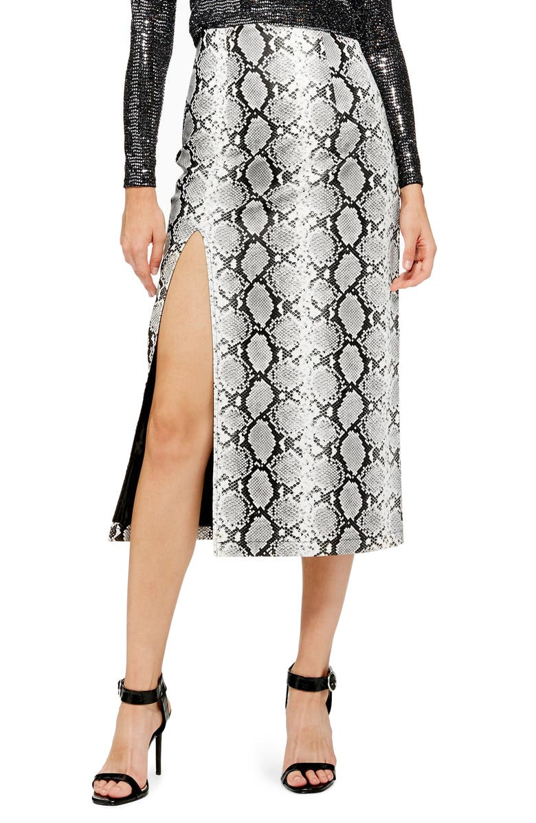 TOPSHOP Snake Print Faux Leather Midi Skirt, Main, color, 002