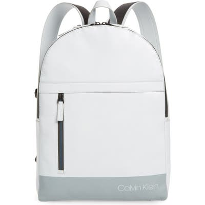 Calvin Klein Screen Print Faux Leather Backpack - Grey