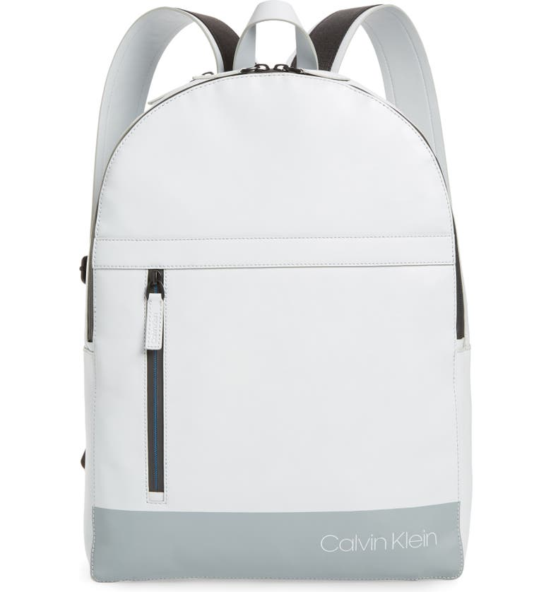 CALVIN KLEIN Screen Print Faux Leather Backpack, Main, color, BLUE GREY