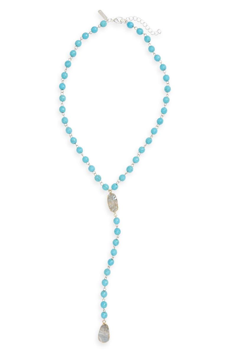 PANACEA Drusy Stone Y-Necklace, Main, color, 400