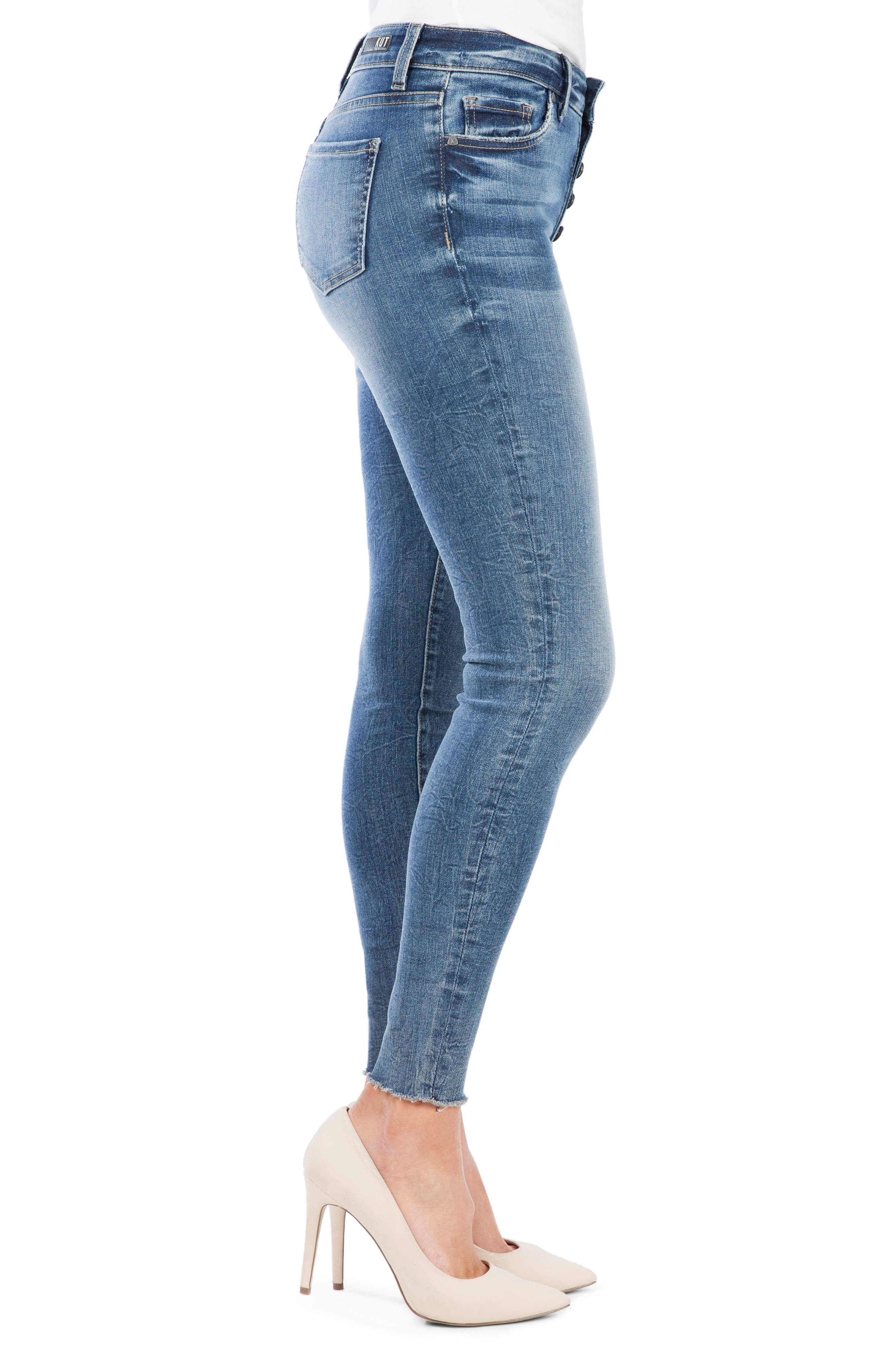 ,                             Donna Button Fly Skinny Jeans,                             Alternate thumbnail 4, color,                             DEMAND