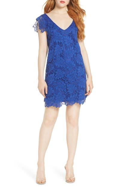 Jacqueline Lace Shift Dress In Cobalt