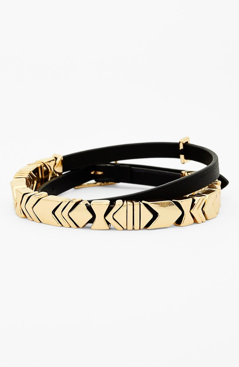 HOUSE OF HARLOW 1960 Leather Wrap Bracelet, Main, color, 001