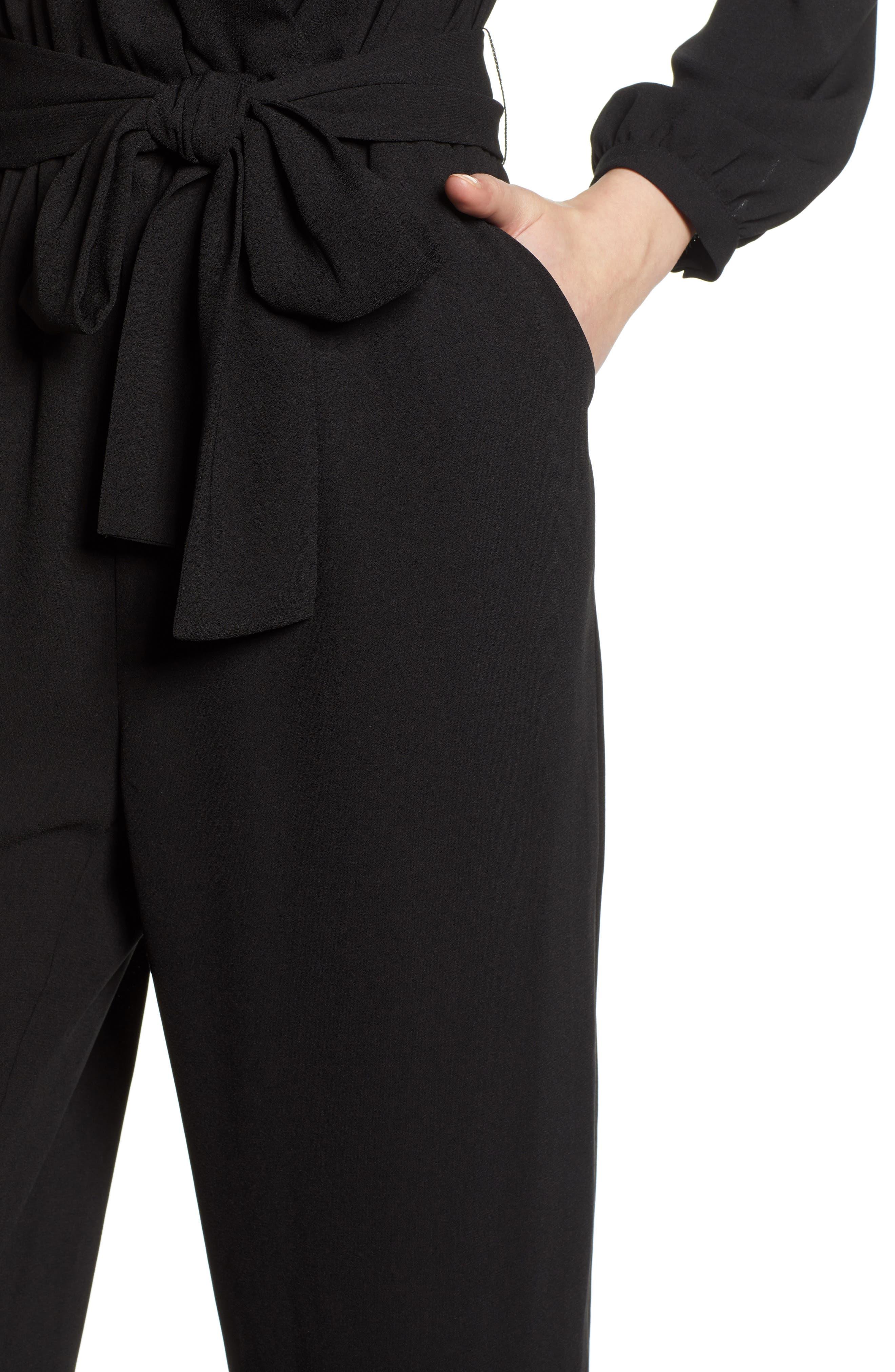 ,                             Tie Waist Jumpsuit,                             Alternate thumbnail 5, color,                             BLACK