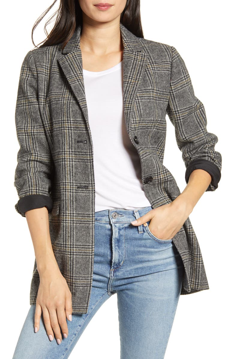 CUPCAKES AND CASHMERE Lillie Check Boyfriend Blazer, Main, color, 001