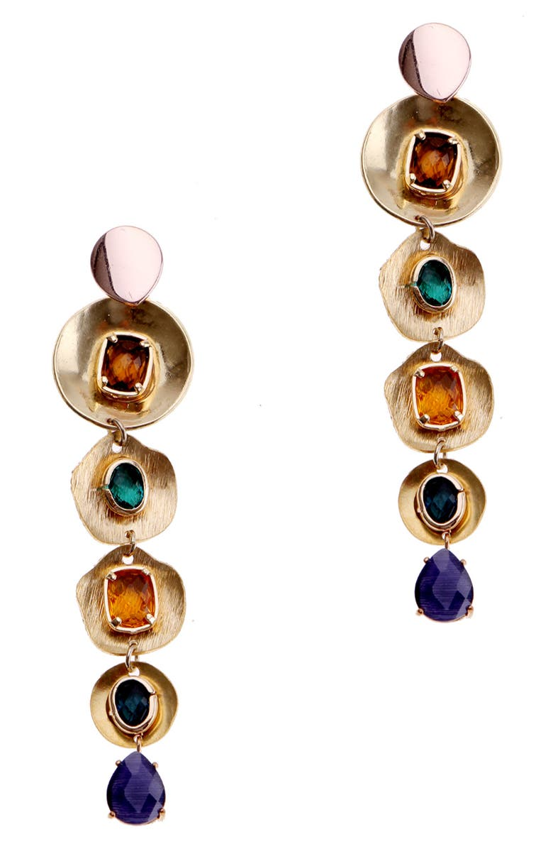 NAKAMOL CHICAGO Tiered Stone Earrings, Main, color, BLUE MIX