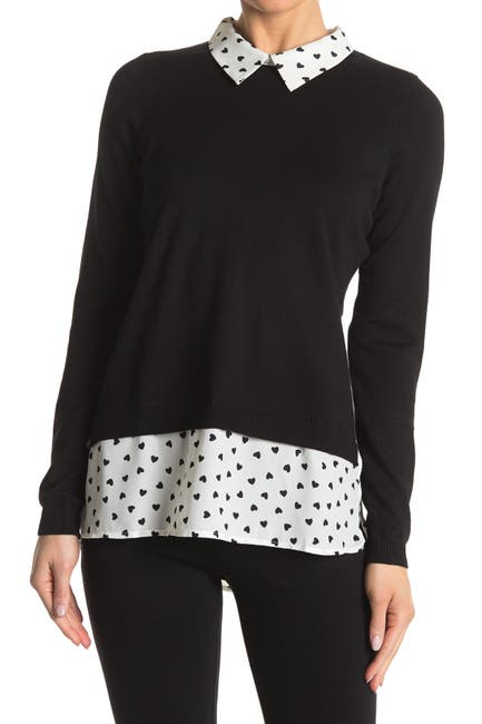 Image of Adrianna Papell Shirttail Twofer Sweater