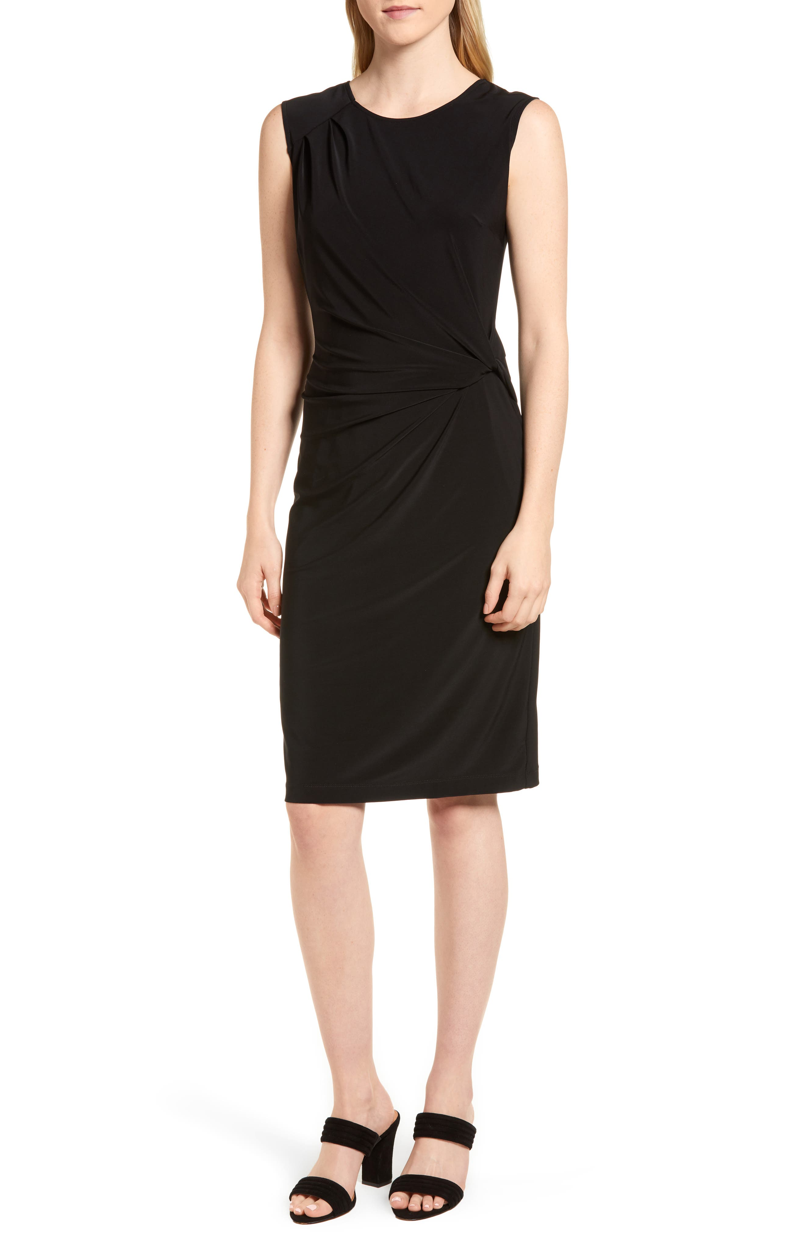 Nic+Zoe Twist Side Matte Jersey Dress, Black