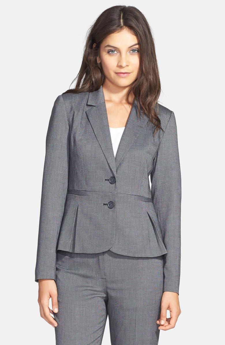 HALOGEN<SUP>®</SUP> Pleat Peplum Suit Jacket, Main, color, 001