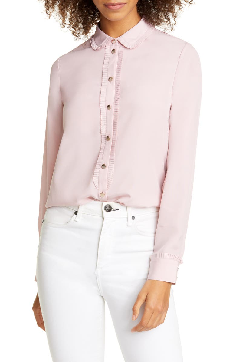 TED BAKER LONDON Saiige Pleated Trim Blouse, Main, color, PINK