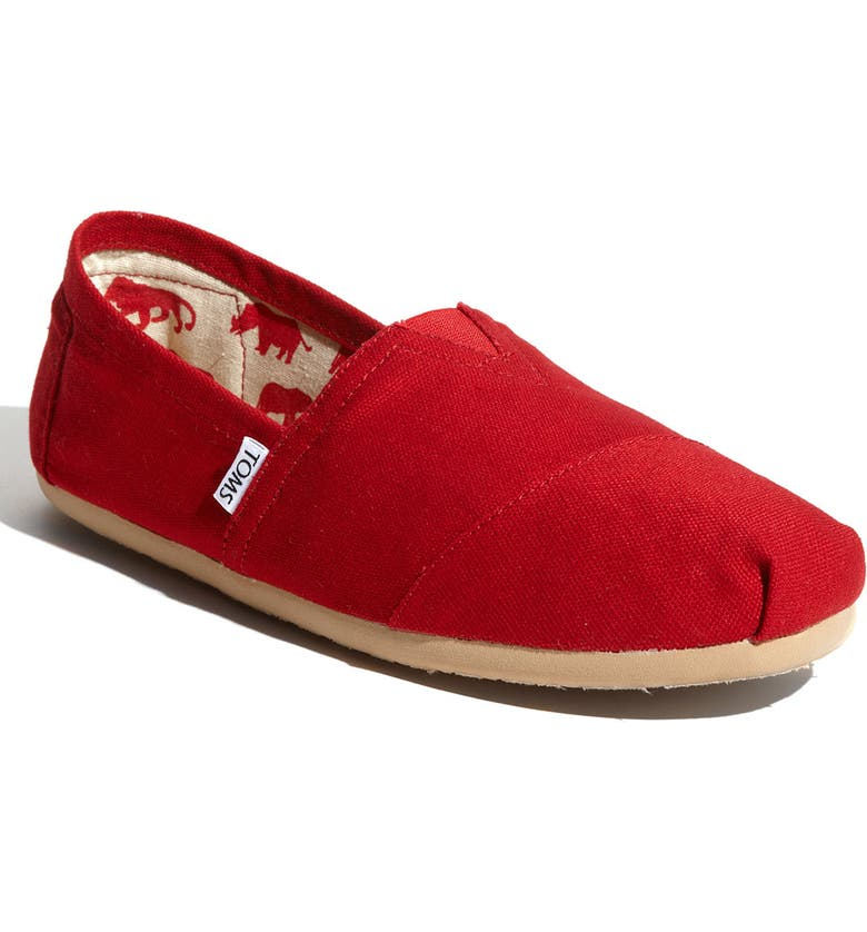 TOMS Classic Canvas Slip-On, Main, color, RED