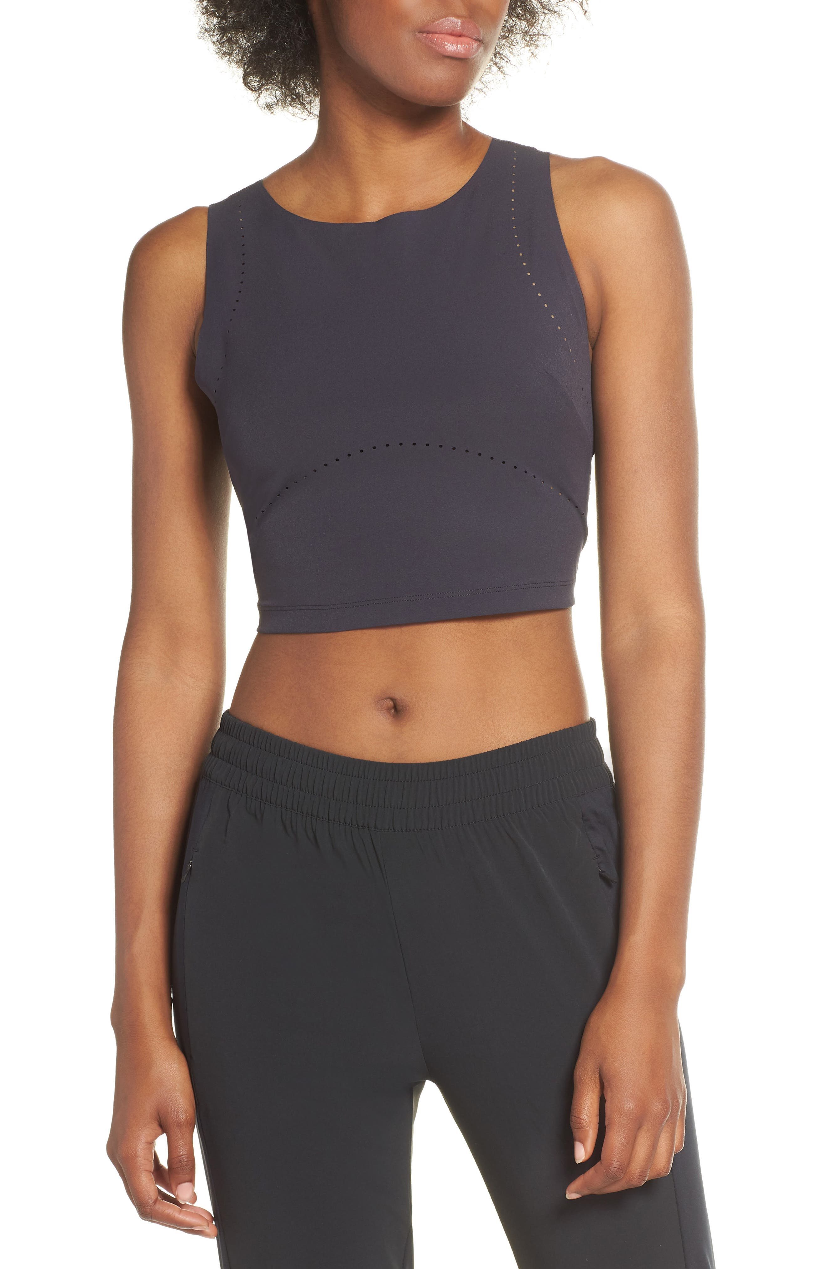 ,                             Tech Pack Crop Training Tank,                             Main thumbnail 1, color,                             OIL GREY/ BLACK