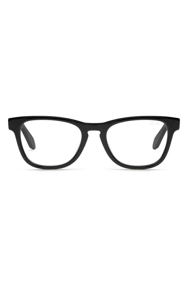 QUAY AUSTRALIA Mini Hardwire 50mm Blue Light Blocking Optical Glasses, Main, color, BLACK/ CLEAR BLUE LIGHT