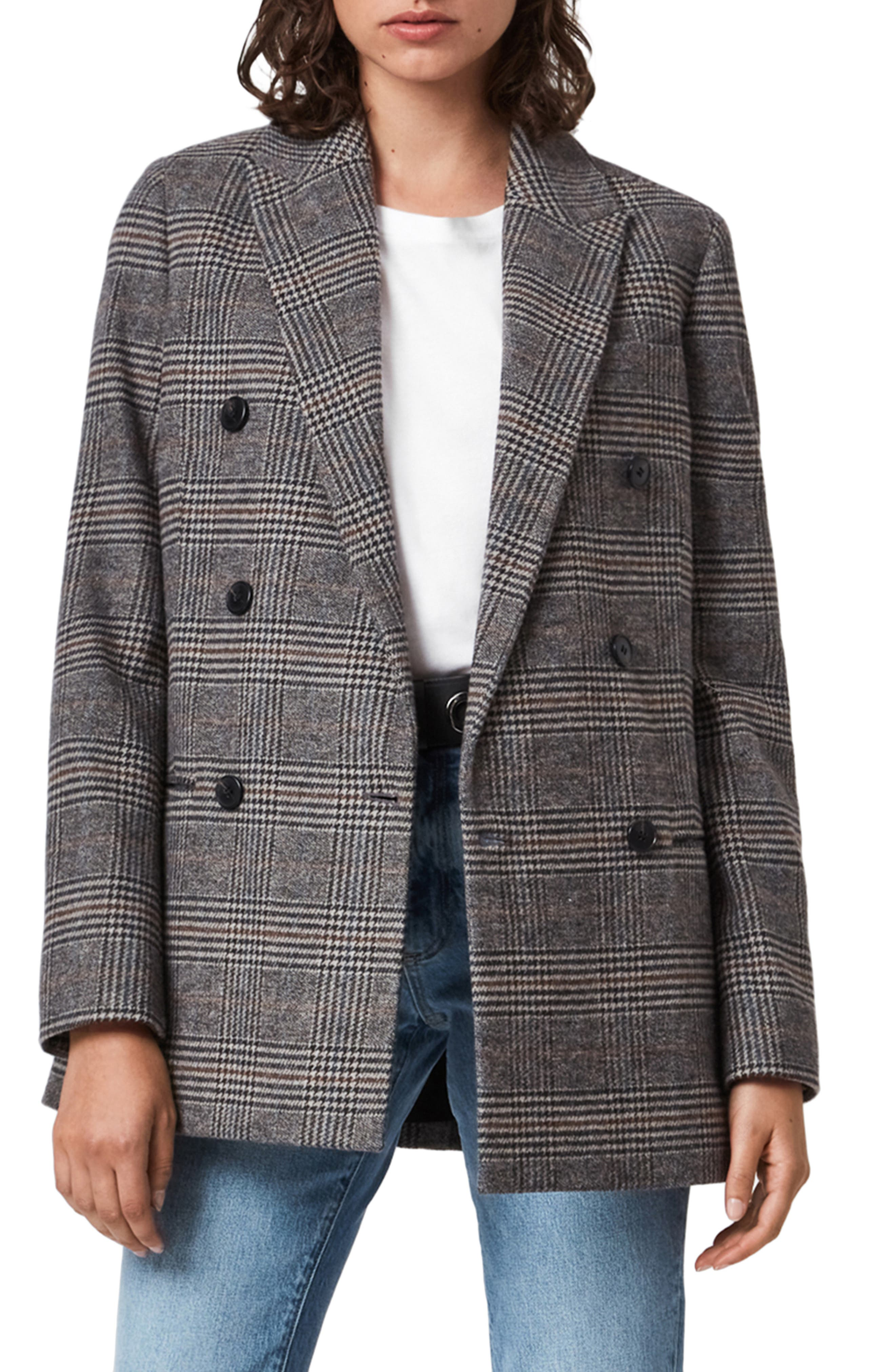 Image of ALLSAINTS Astrid Check Double Breasted Blazer