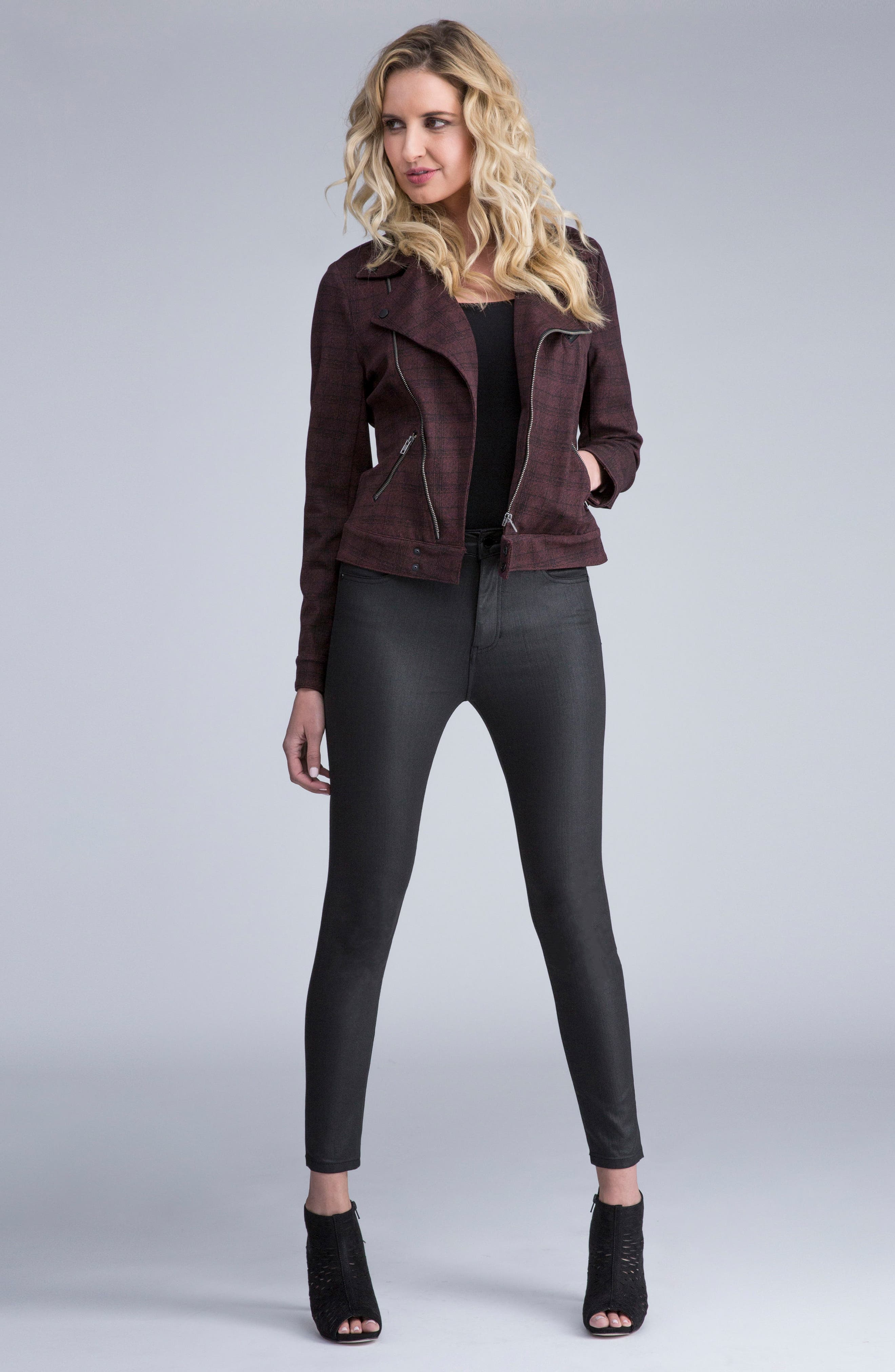 ,                             Bridget Coated High Waist Skinny Jeans,                             Alternate thumbnail 5, color,                             001