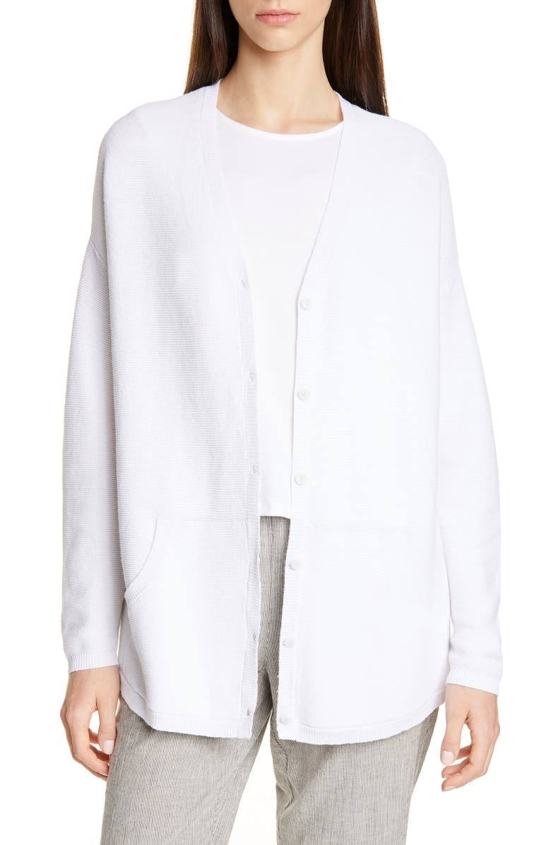 EILEEN FISHER V-Neck Tencel<sup>®</sup> Lyocell Blend Cardigan, Main, color, WHITE