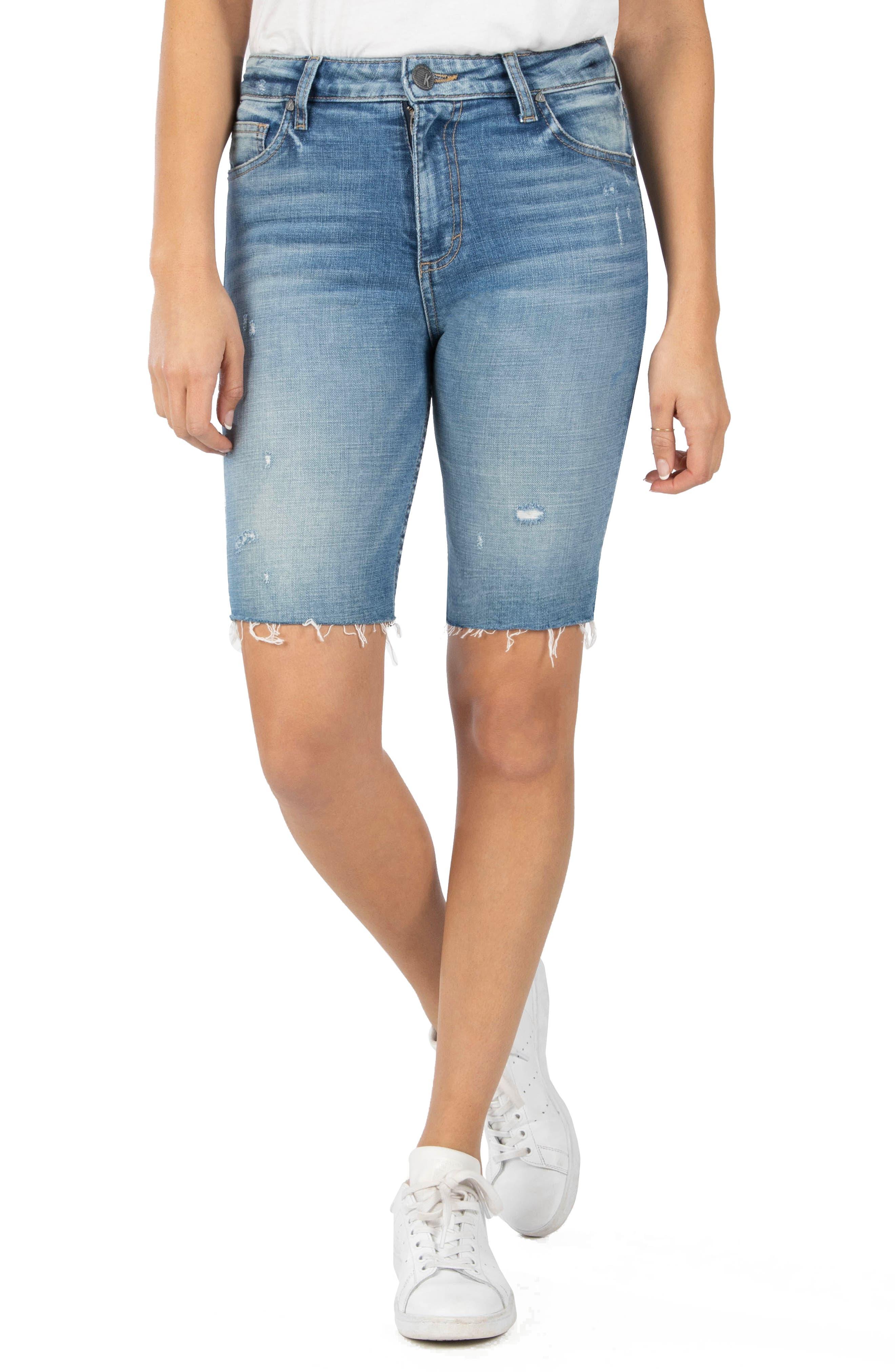 Women's Kut From The Kloth Sophie Distressed Denim Bermuda Shorts,  0 - Blue
