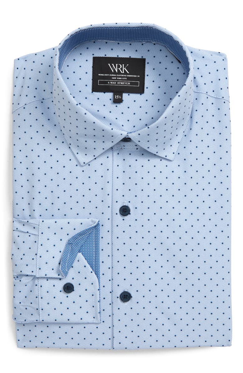 W.R.K Slim Fit Performance Stretch Dot Dress Shirt, Main, color, LIGHT BLUE