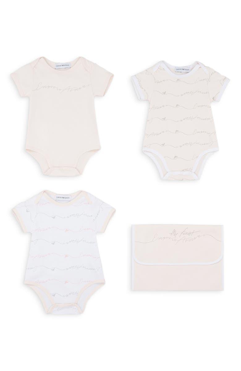 ARMANI JUNIOR Set of 3 Graphic Bodysuits, Main, color, 650