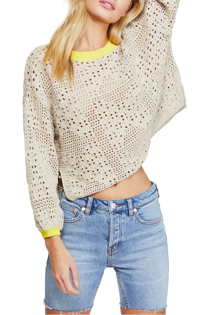 FREE PEOPLE Home Run Crop Sweater, Main, color, 250