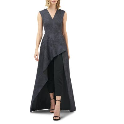 Kay Unger Roxane Embroidered Mesh Overlay Maxi Romper, Grey