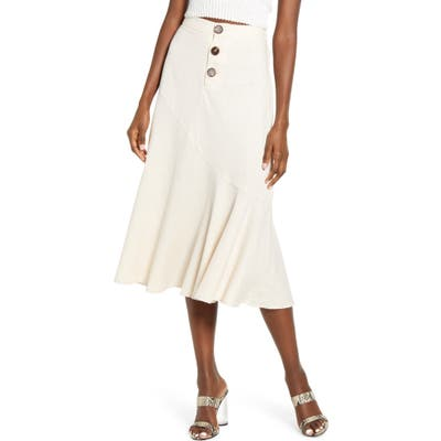 All In Favor Button Front Midi Skirt, Ivory