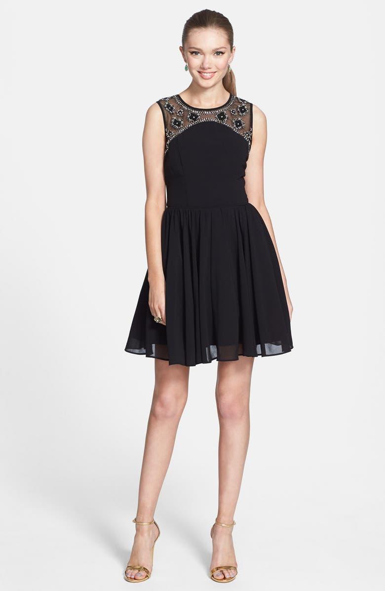 WAY-IN Embellished Yoke V-Back Fit & Flare Dress, Main, color, 001