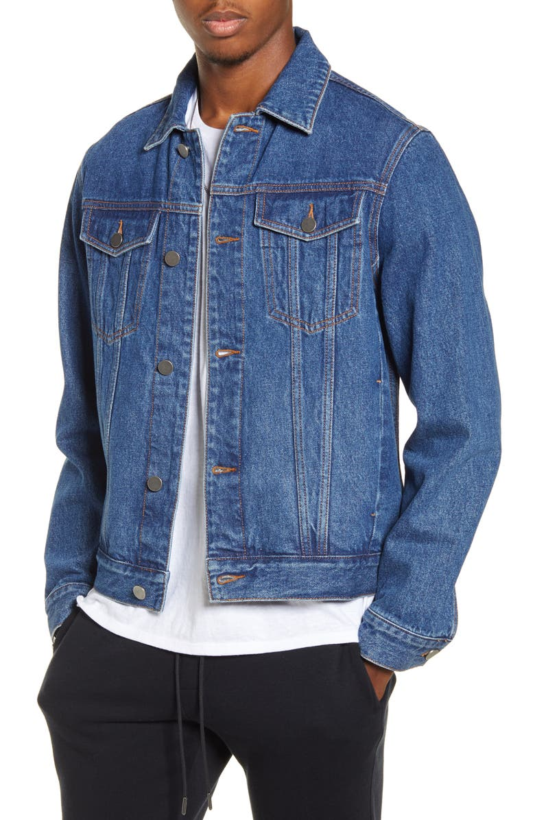 BP. x Alex Costa Denim Trucker Jacket, Main, color, BLUE ALEX WASH