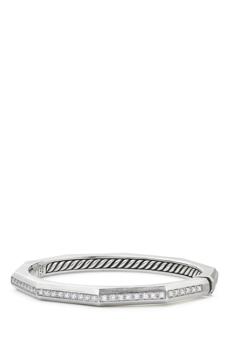 DAVID YURMAN Stax Faceted Bracelet with Diamonds, Main, color, SILVER