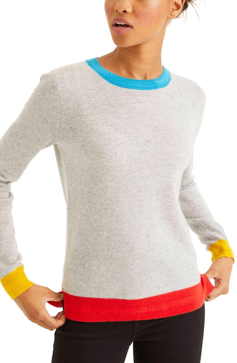 BODEN Cashmere Sweater, Main, color, GREY MELANGE COLOURBLOCK