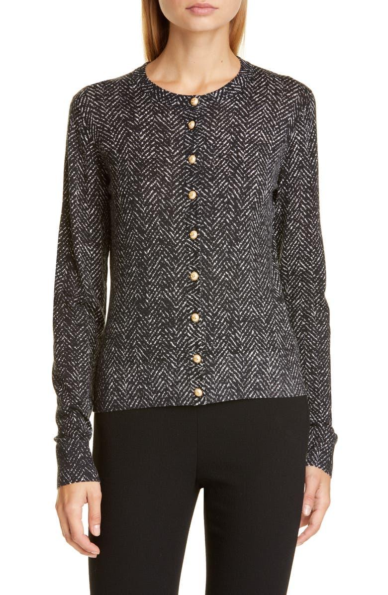 DOLCE&GABBANA DG Logo Button Herringbone Print Wool Cardigan, Main, color, BLACK WHITE