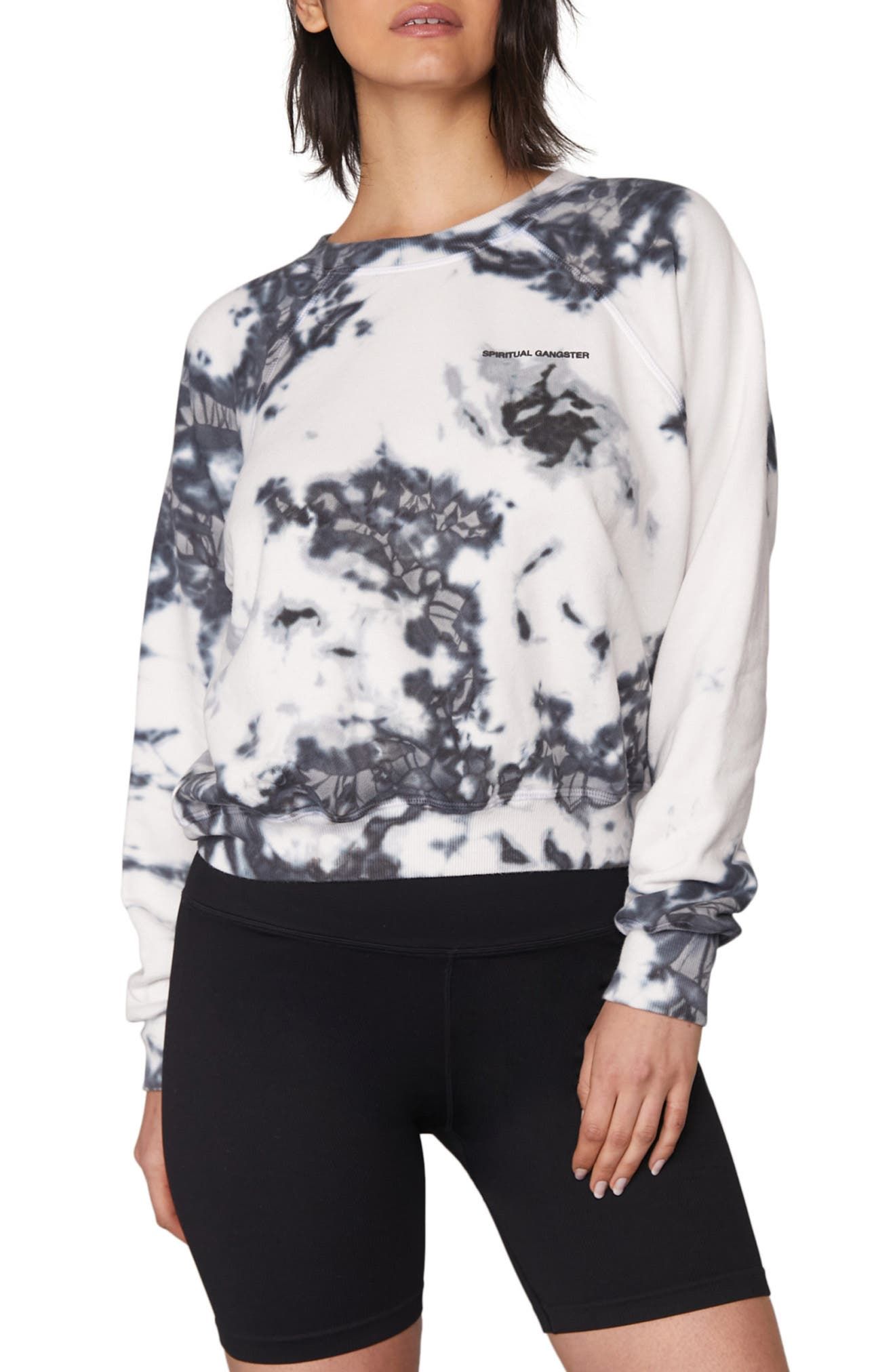 A raglan-sleeve pullover in comfy cotton is splashed in a fun tie-dye pattern to energize your day, even if you only spend it on the couch. Style Name: Spiritual Gangster Bridget Tie Dye Sweatshirt. Style Number: 6102823. Available in stores.