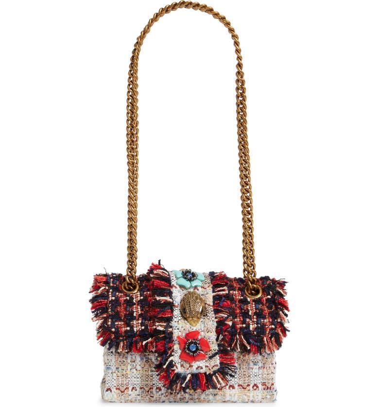 KURT GEIGER LONDON Mini Kensington X Embellished Tweed Crossbody Bag, Main, color, RED/ OTHER