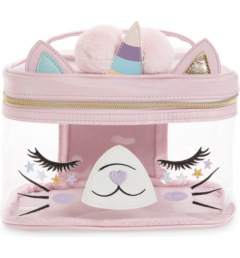 UNDER ONE SKY Caticorn 3-Piece Clear Travel Case Set, Main, color, PINK IRIDESCENT