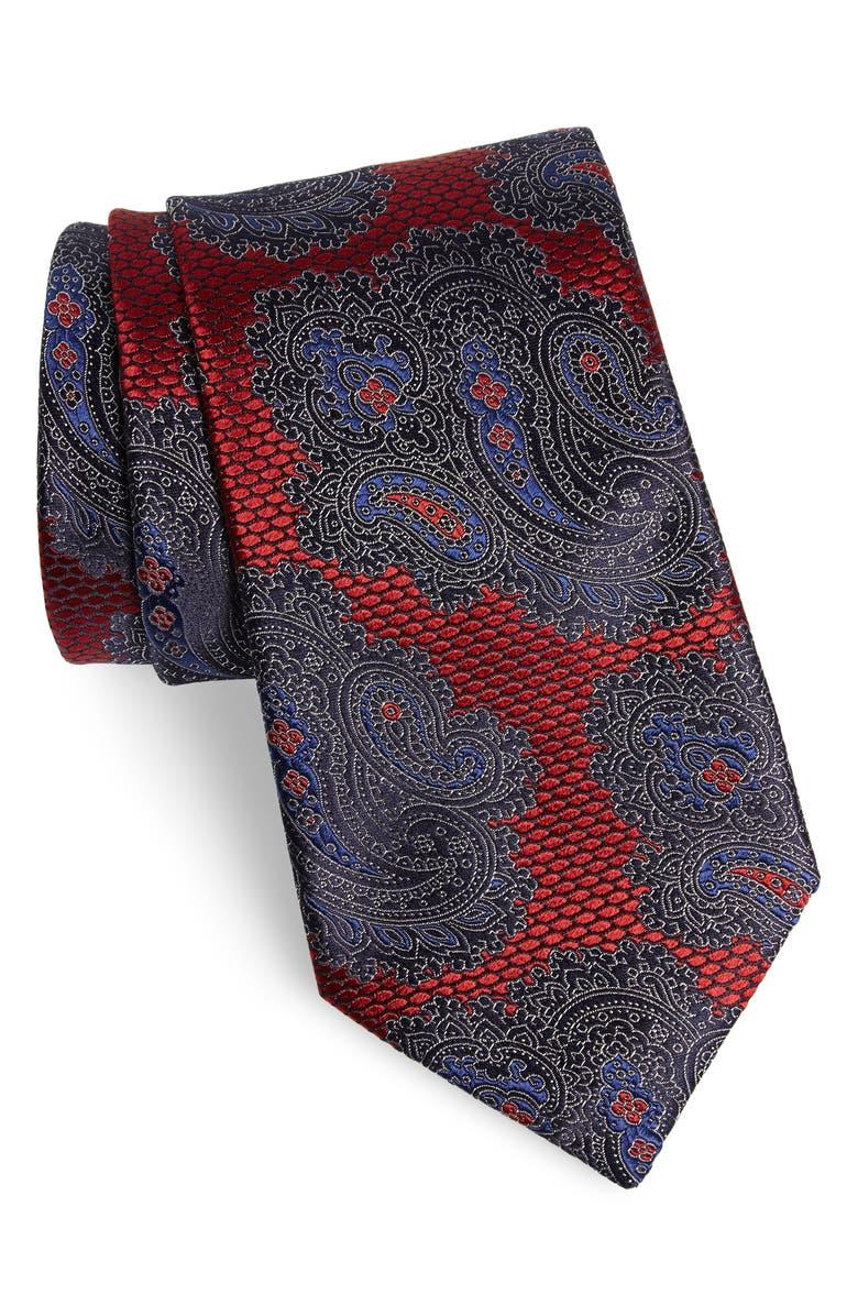 ERMENEGILDO ZEGNA Paisley Silk Tie, Main, color, RED