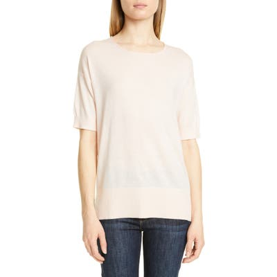 Nordstrom Signature Short Sleeve Cashmere & Linen Sweater, Pink
