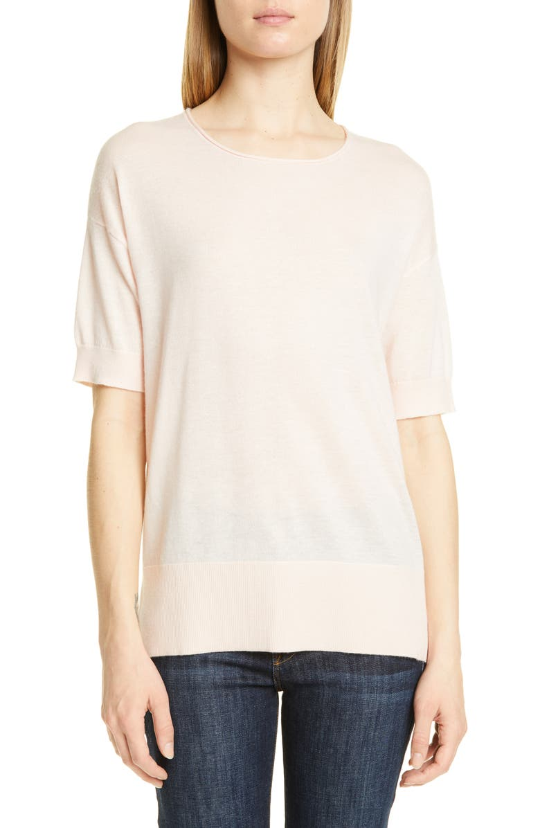 NORDSTROM SIGNATURE Short Sleeve Cashmere & Linen Sweater, Main, color, PINK WISP