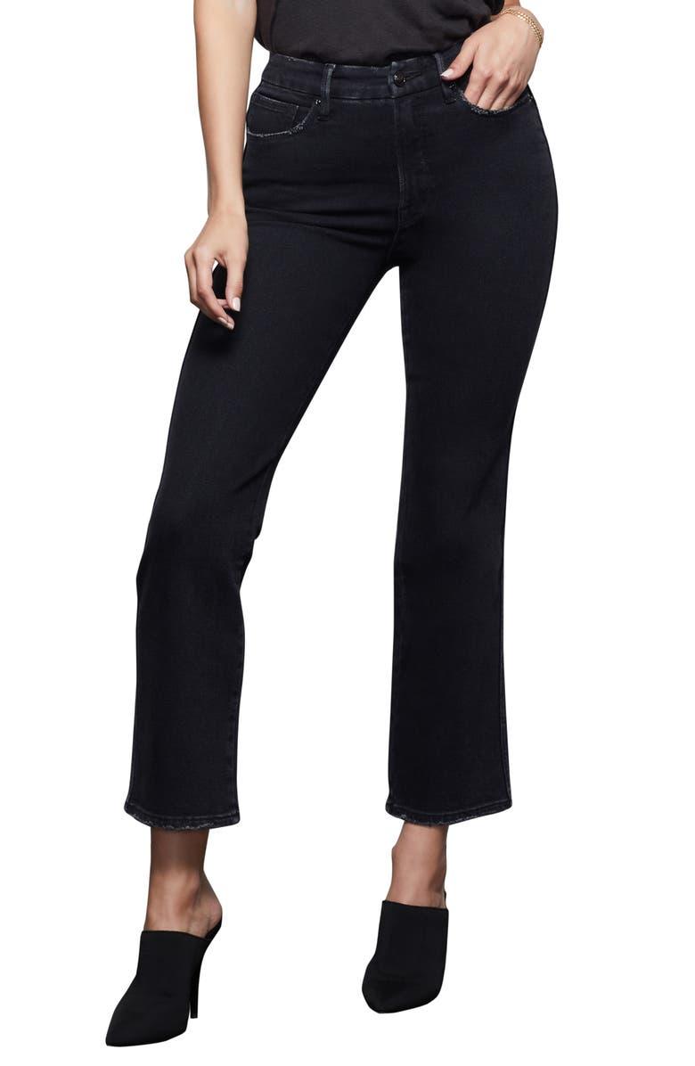 GOOD AMERICAN Good Curve Straight Leg Jeans, Main, color, BLACK