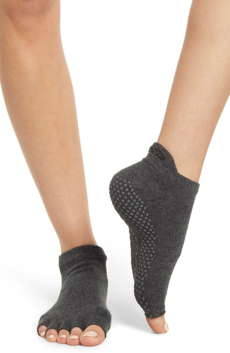 TOESOX Low Rise Half-Toe Gripper Socks, Main, color, CHARCOAL