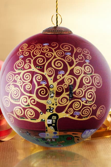 """Image of Overstock Art """"Tree of Life (Burgundy)"""" Gustav Klimt Hand Painted Glass Ornament Collection - Set of 12"""