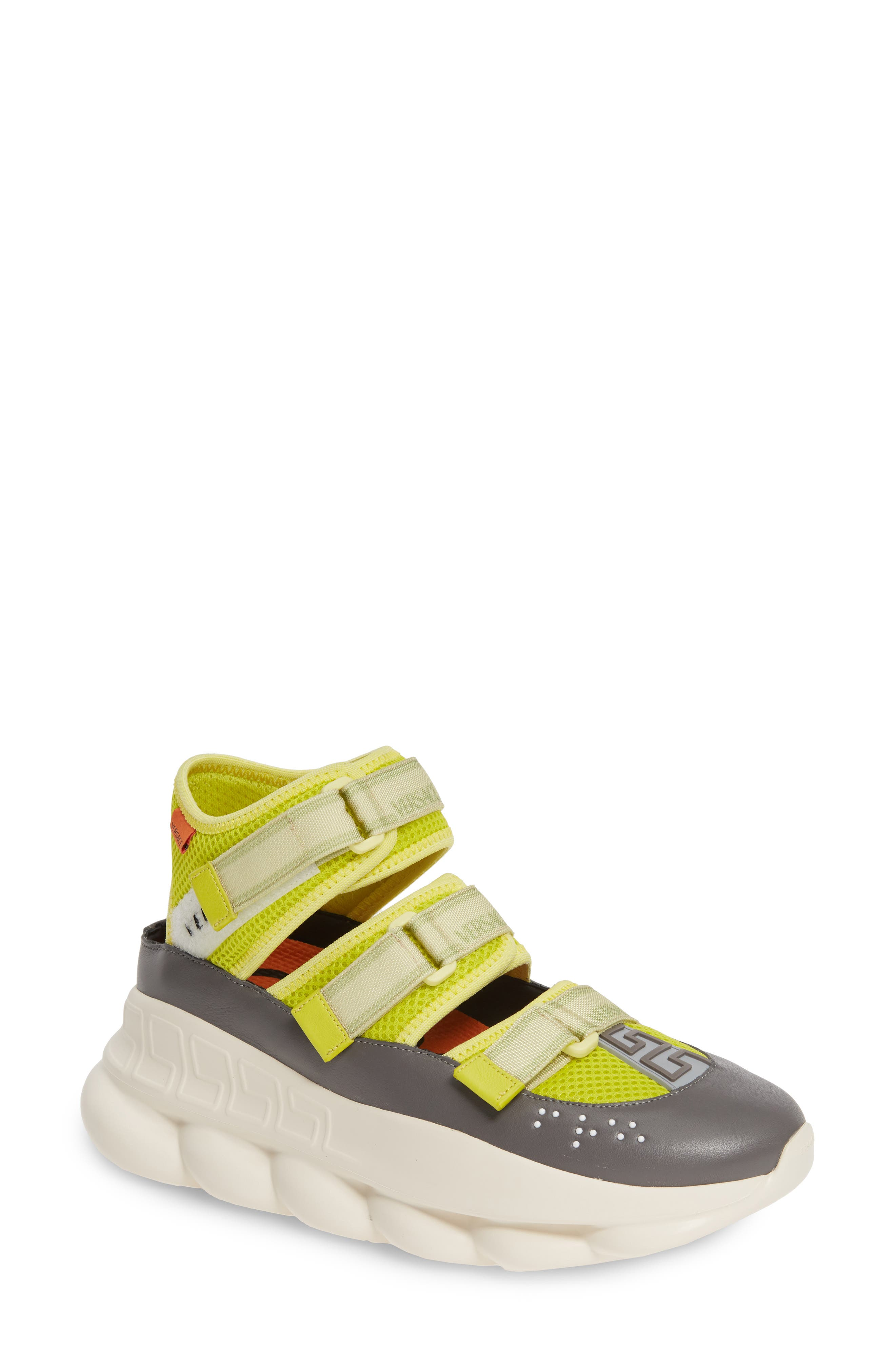 ,                             Chain Reaction Strappy Logo Sneaker,                             Main thumbnail 1, color,                             LIME