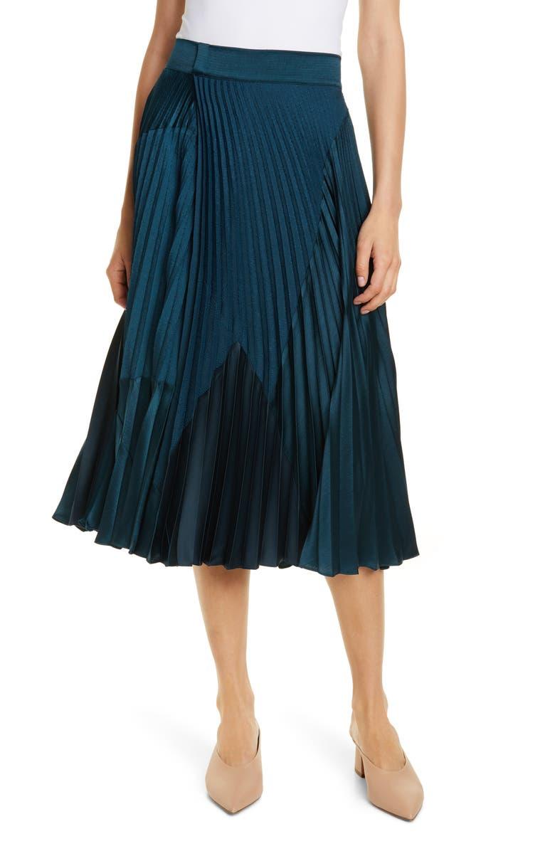 VINCE Pleated Mixed Media Skirt, Main, color, CARPINTERIA