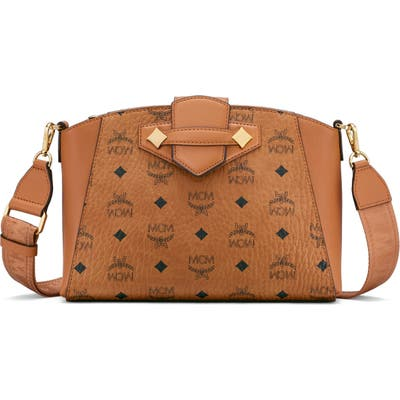 Mcm Small Essential Visetos Coated Canvas Crossbody Bag - Brown