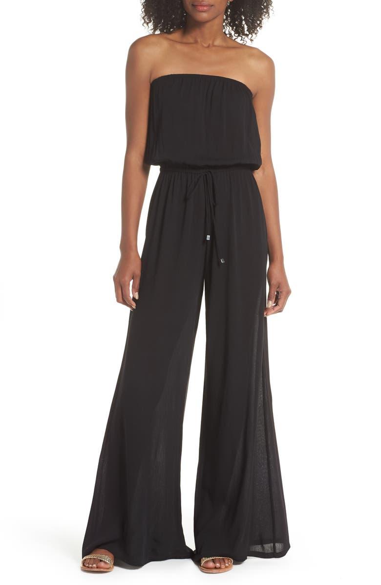 ELAN Strapless Cover-Up Jumpsuit, Main, color, BLACK