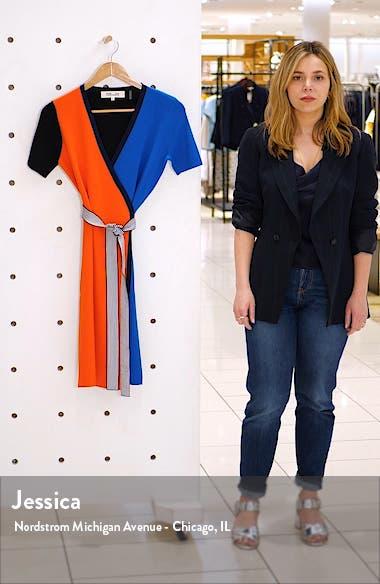 Francine Colorblock Wrap Dress, sales video thumbnail