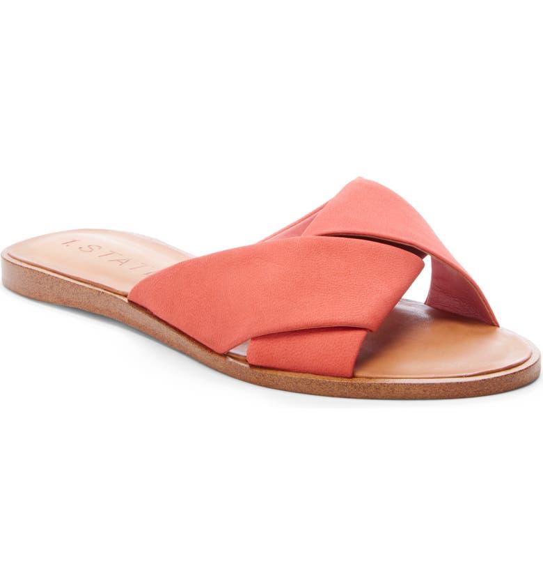 1.STATE Travor Slide Sandal, Main, color, PAPAYA NUBUCK