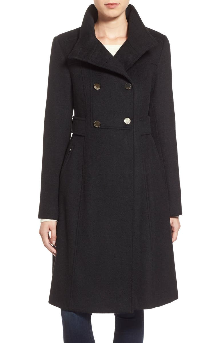 ELIZA J Wool Blend Long Military Coat, Main, color, 001