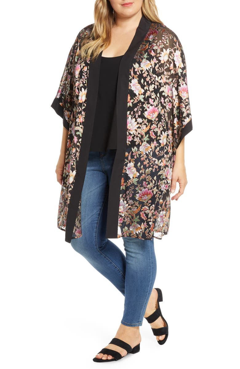 DANIEL RAINN Floral Satin Burnout Open Front Topper, Main, color, BLACK